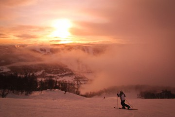 Skiing at sunrise Geilo Skisenter Norway
