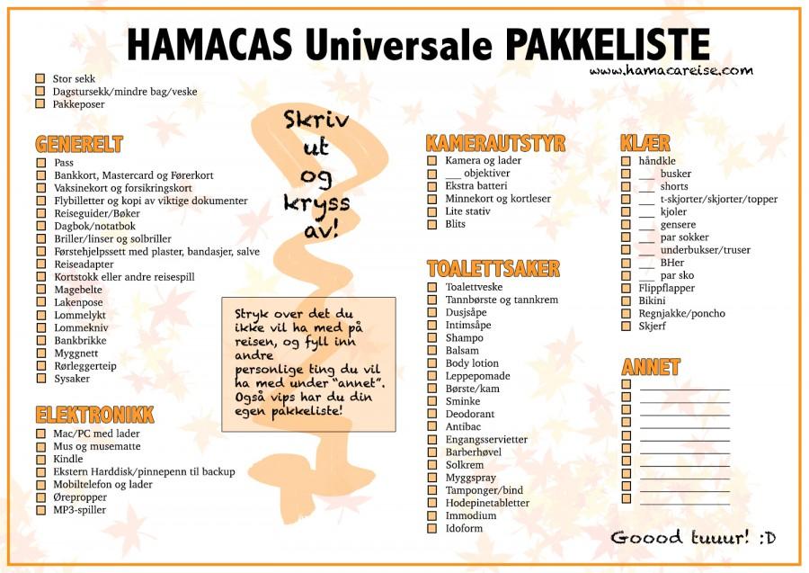 Universal-pakkeliste-reise