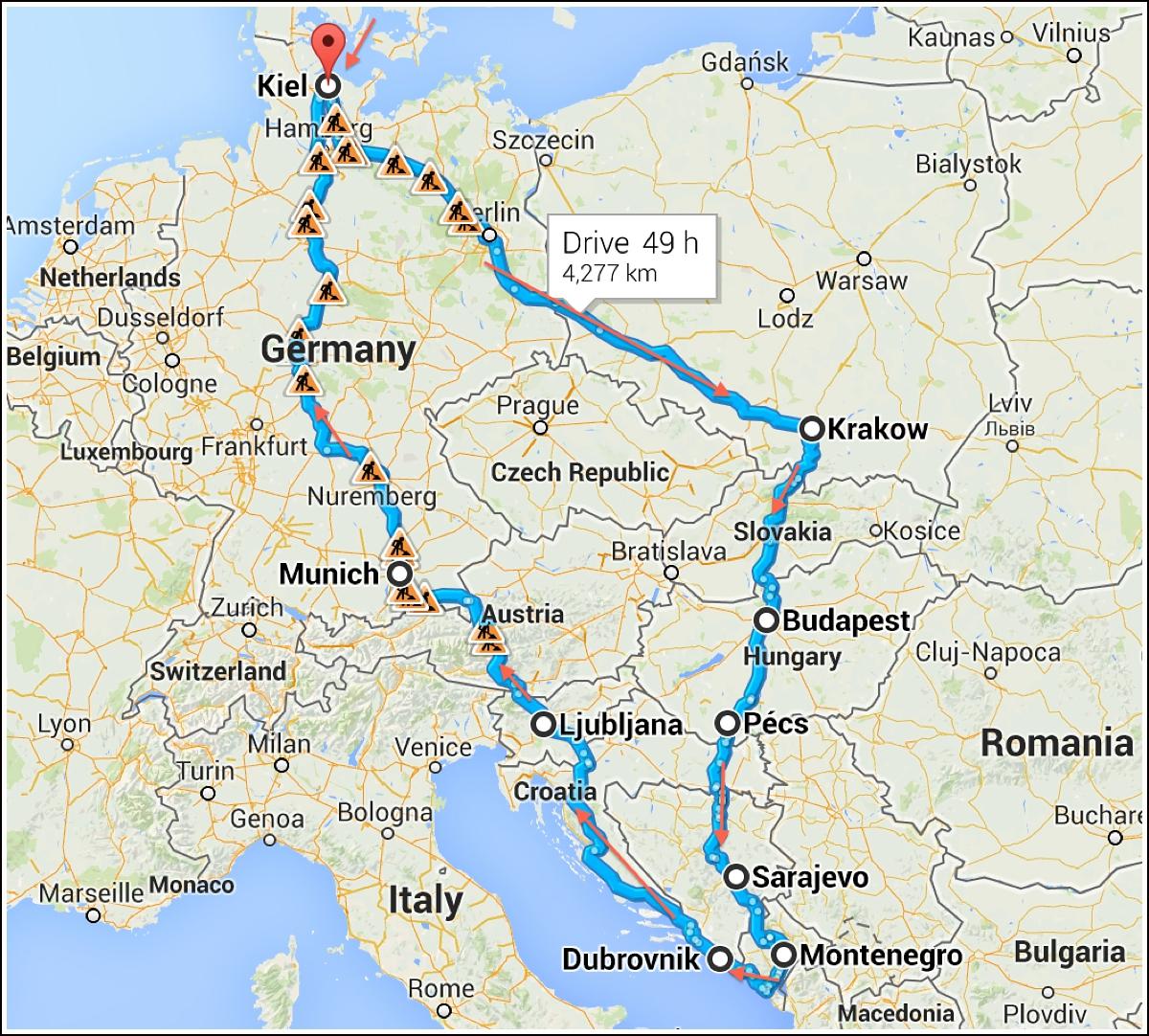 reiserute-biltur-Europa