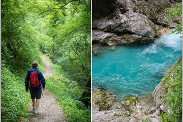 vandring i tolmin gorges ved soca elva i slovenia