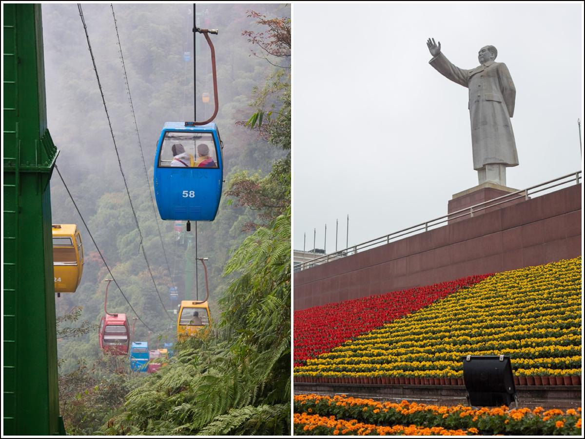 Mao statue og bambusskog i Kina