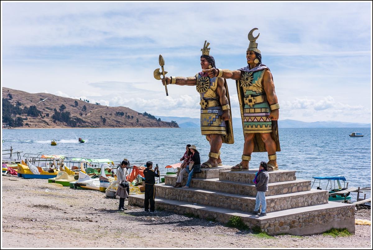 Inkakulturer på stranda ved Titicaca i Bolivia