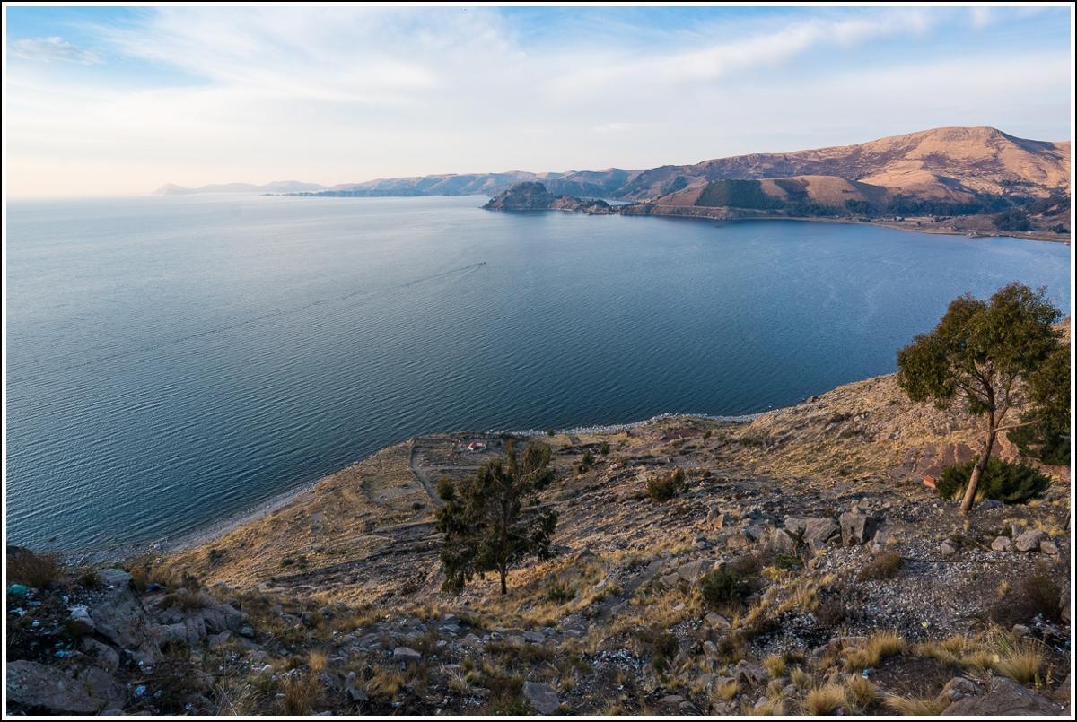 Utsikt over Titicacasjøen i Bolivia