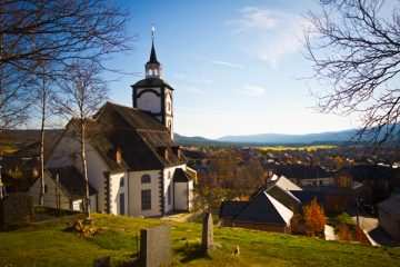 picture of Røros curch from the graveyard Norway