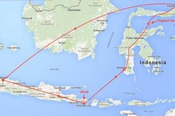 Reiseruta til Indonesia